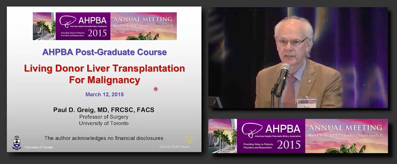 Post Grad Course: Treatment of HPB Malignancies: Transplant #3, Greig